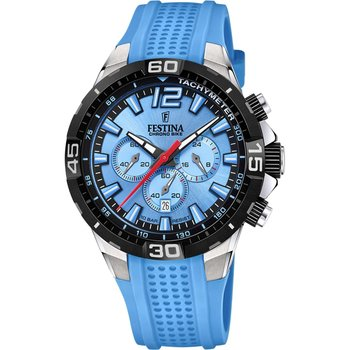 FESTINA Gents Chronograph Light Blue Rubber Strap