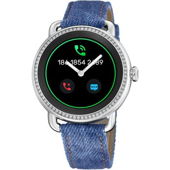 FESTINA Ladies Zircon Smartwatch Blue Leather Strap Gift Set