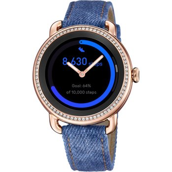 FESTINA Ladies Zircon Smartwatch Blue Leather Strap