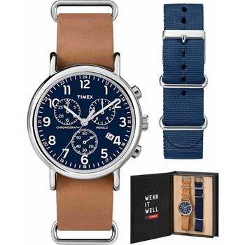 TIMEX Weekender Chronograph Brown Leather Strap Gift Set