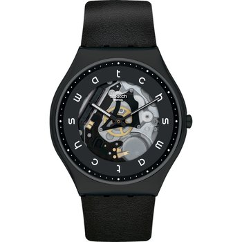 SWATCH Skin Irony White Side Black Leather Strap