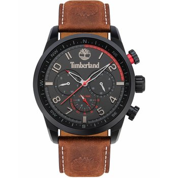 TIMBERLAND Forestdale Dual Time Brown Leather Strap