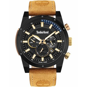 TIMBERLAND Sherbrook Dual Time Brown Leather Strap