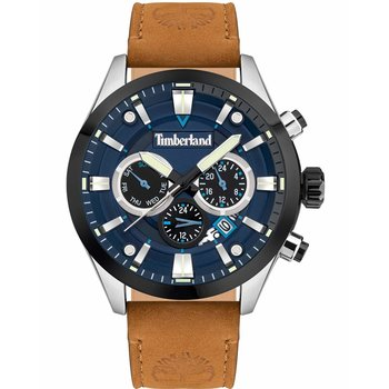 TIMBERLAND Tidemark Dual Time Brown Leather Strap