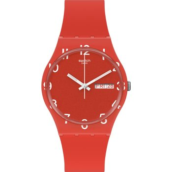 SWATCH Gents Over Red with Red Silicone Strap