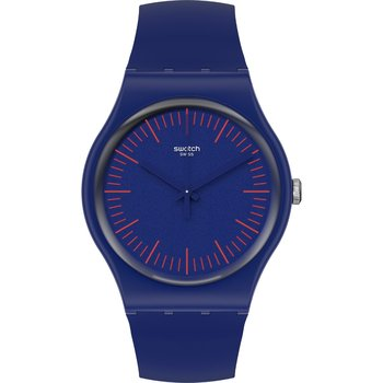 SWATCH Gents BlueNred Blue Silicone Strap