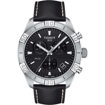 TISSOT T-Classic PR 100 Chronograph Black Leather Strap
