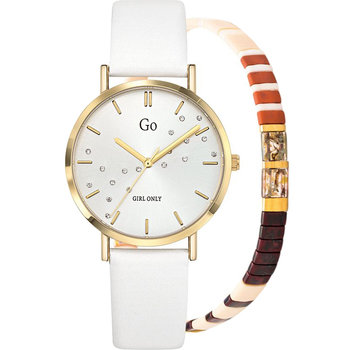 GO Ladies Crystals White Leather Strap Gift Set