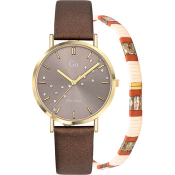 GO Ladies Crystals Brown Leather Strap Gift Set