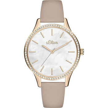 s.Oliver Ladies Crystals Beige Leather Strap