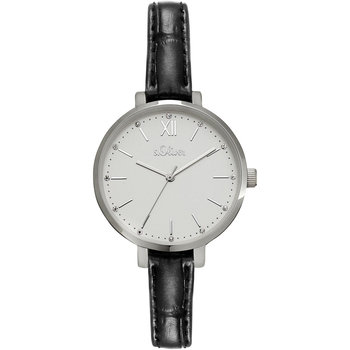 s.Oliver Ladies Crystals Black Leather Strap
