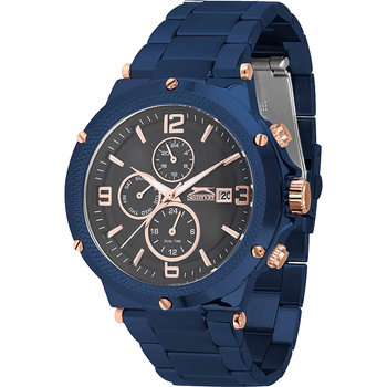 SLAZENGER Gents Dual Time Blue Stainless Steel Bracelet