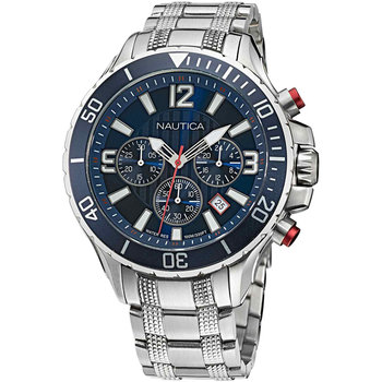 NAUTICA NST Chronograph Silver Stainless Steel Bracelet Gift Set