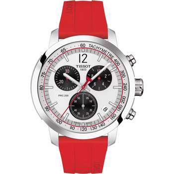 TISSOT PRC200 Chronograph Red Rubber Strap