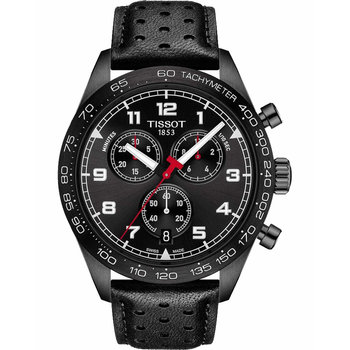 TISSOT PRS 516 Chronograph Black Leather Strap