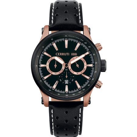 Ρολόι CERRUTI Lariano Chronograph Black Leather Strap - CRA180SN02BK ... d3f6ec0435f