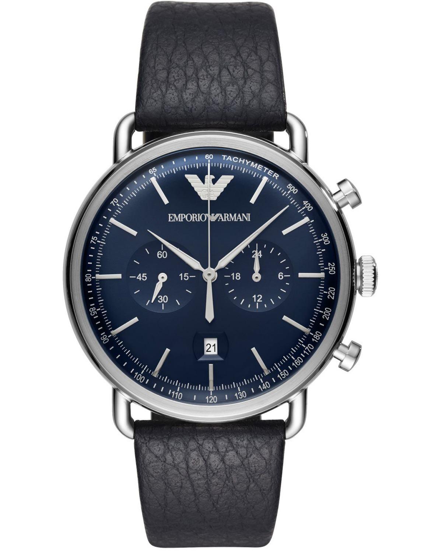 Ρολόι Emporio ARMANI Aviator Chronograph Blue Leather Strap ... db02c8fd44d