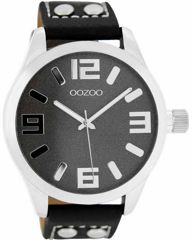 Ρολόι OOZOO XL Timepieces Black Leather Strap - C8463 - OROLOI.gr b1400cd1efa