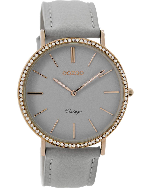 Ρολόι OOZOO Vintage Grey Leather Strap 40mm - C8885 - OROLOI.gr 38119bda2ad