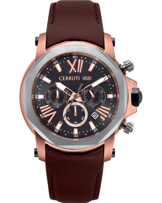 Ρολόι CERRUTI Predazzo Chronograph Brown Leather Strap - CRA21402 ... 7b3ff29aa74