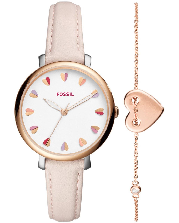 641b8fdf36 Ρολόι FOSSIL Jacqueline Pink Leather Strap Gift Set - ES4351SET ...