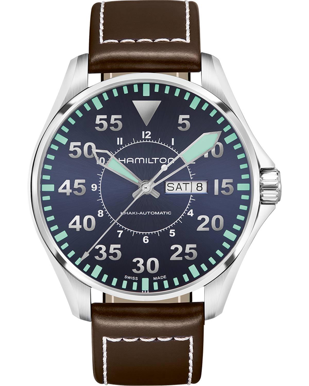Ρολόι HAMILTON Khaki Aviation Pilot Automatic Brown Leather Strap ... 740207d3bf5