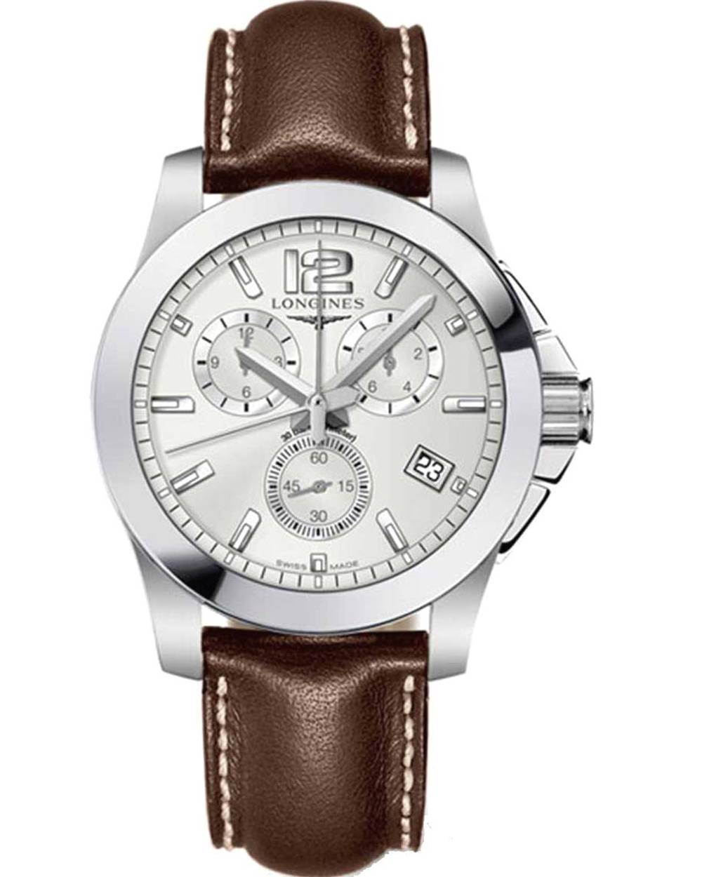 Longines conquest brown leather strap l36604765 for Longines leather strap