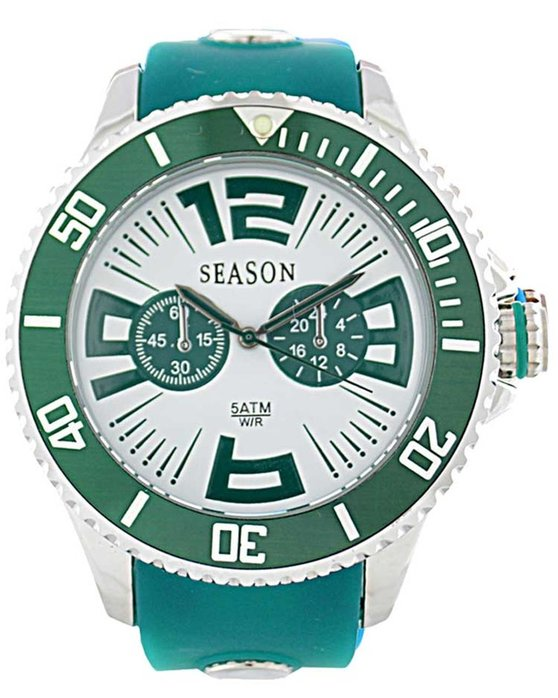 SEASON TIME Ladies Turqoise Rubber Strap