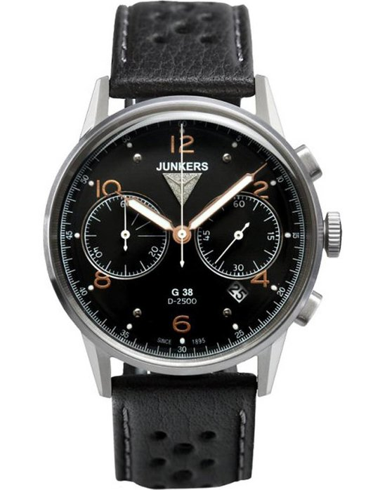 JUNKERS Flight Record G38 Chrono Black Leather Strap
