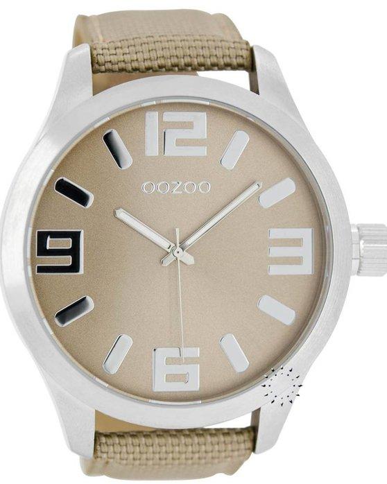 Ρολόι OOZOO XXL Τimepieces Light Brown Fabric Strap - C6601 - OROLOI.gr 24c483ac6bb