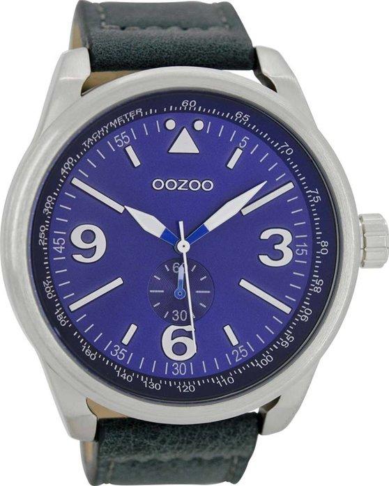 Ρολόι OOZOO XL Τimepieces Mens Dark Blue Leather Strap - C7067 - OROLOI.gr ebb60b884c8