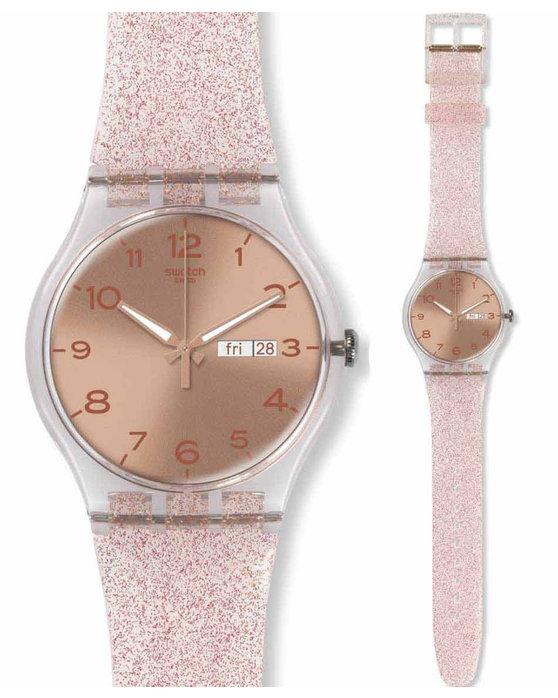 Ρολόι SWATCH Pink Glistar Semitransparent Silicone Strap - SUOK703 -  OROLOI.gr 9959601e149