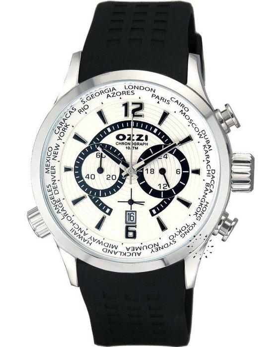 Ρολόι OZZI World Time Chronograph Black Rubber Strap - W00765 ... 9e0c40cd65b