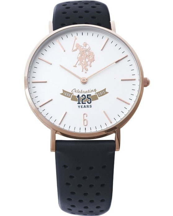 U.S. POLO Anniversary Ladies Rose Gold Black Leather Strap
