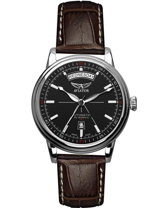 Ρολόι AVIATOR SWISS Douglas Day Date Automatic Black Leather Strap -  V.3.20.0.142.4 - OROLOI.gr 35781459f7a