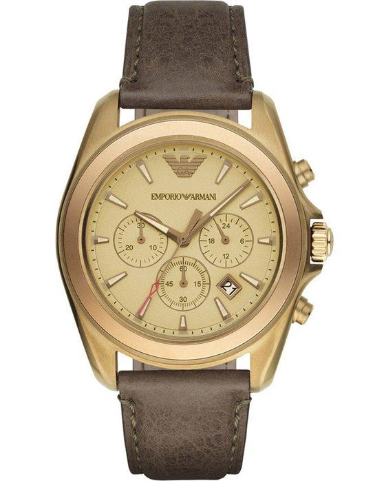 Ρολόι Emporio ARMANI Sigma Chrono Gold Brown Leather Strap - AR6071 ... 623848e1f80