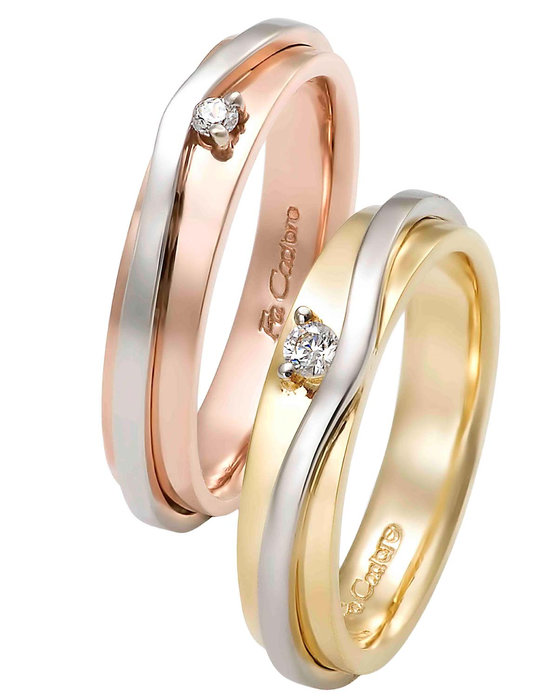885b111871 Ρολόι Wedding rings 18 Carats Rose Gold and Whitegold With Diamonds by  FaCaDoro - 004VE30AGK18 - OROLOI.gr