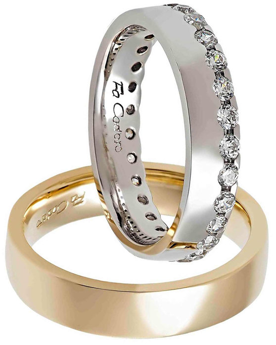 6308ba584a Ρολόι Wedding rings 14ct Rose Gold and Whitegold With Diamonds by FaCaDoro  - 004VE31AGK14 - OROLOI.gr