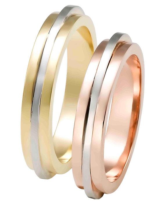 e937a36e97 Ρολόι Wedding rings 14ct Rose Gold and Whitegold by FaCaDoro - 004VE35AGK14  - OROLOI.gr