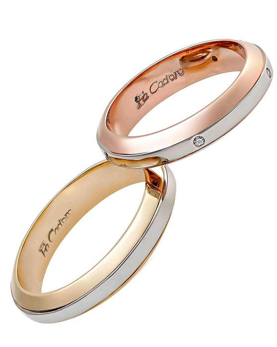 c0f52a4b53 Ρολόι Wedding rings 14ct Rose Gold and Whitegold With Diamonds by FaCaDoro  - 004VE36AGK14 - OROLOI.gr