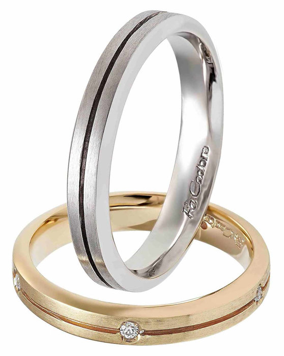51ef11780f Ρολόι Wedding rings 18 Carats Rose Gold and Whitegold With Diamonds by  FaCaDoro - 004VE09AGK18 - OROLOI.gr