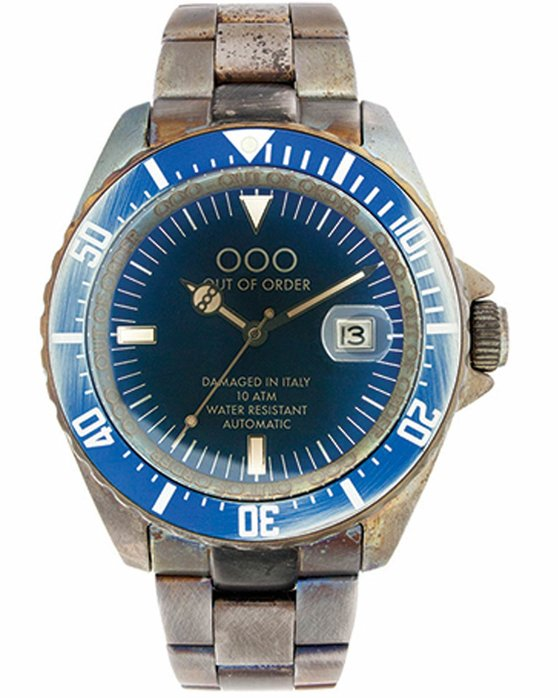 OUT OF ORDER Automatico Blu Stainless Steel Bracelet