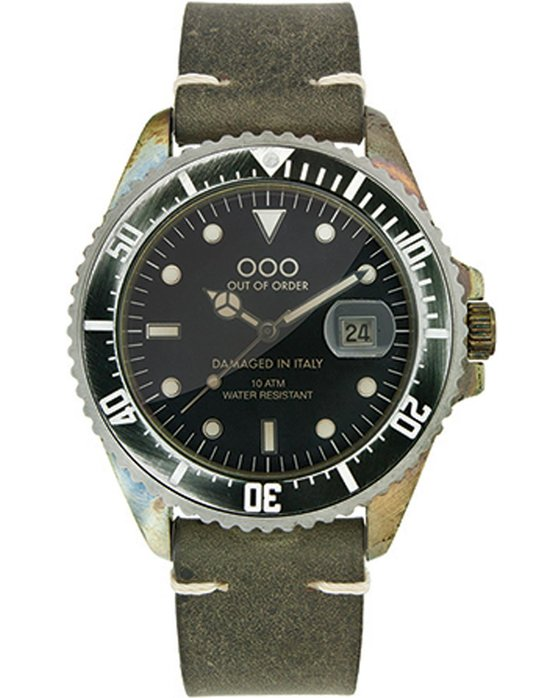 OUT OF ORDER Womens Dark Green Leather Strap