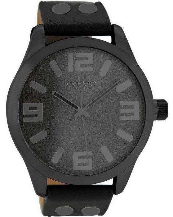Ρολόι OOZOO XL Timepieces Black Leather Strap - C8460 - OROLOI.gr 947ea8f396f