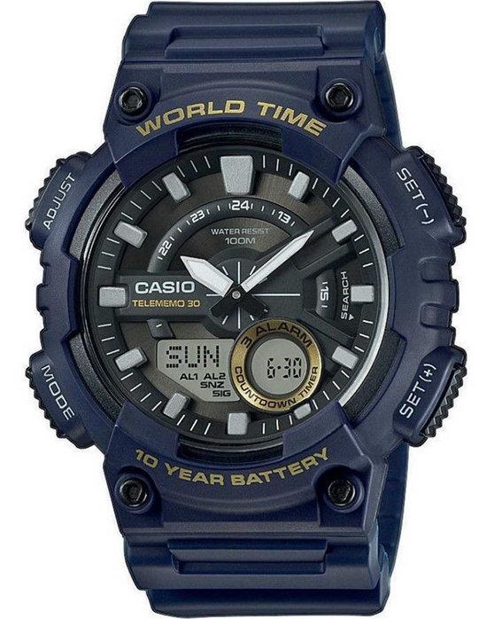 Ρολόι CASIO Collection Chrono Blue Rubber Strap - AEQ-110W-2AVEF - OROLOI.gr 449d7989c73