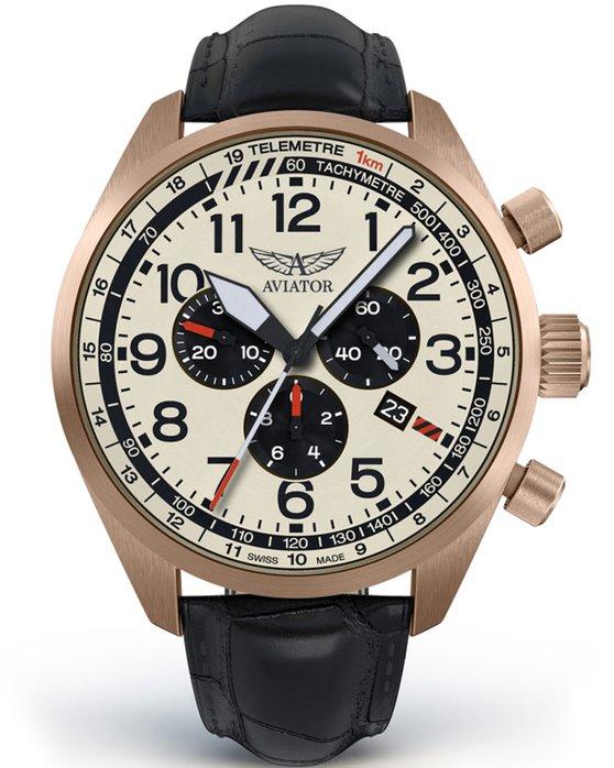 Ρολόι AVIATOR AIRACOBRA Chronograph Black Leather Strap - V.2.25.2.173.4 -  OROLOI.gr f43e6becadf