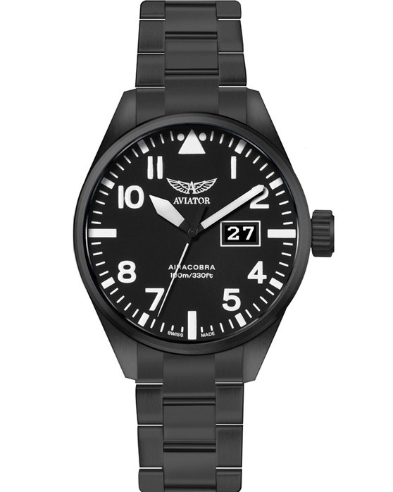 Ρολόι AVIATOR AIRACOBRA P42 Black Stainless Steel Bracelet - V.1.22.5.148.5  - OROLOI.gr 3da49d4bb05