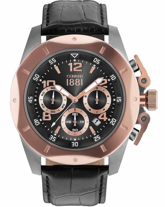Ρολόι CERRUTI Pusiano Chronograph Black Leather Strap ... 98bd2ca0f7b