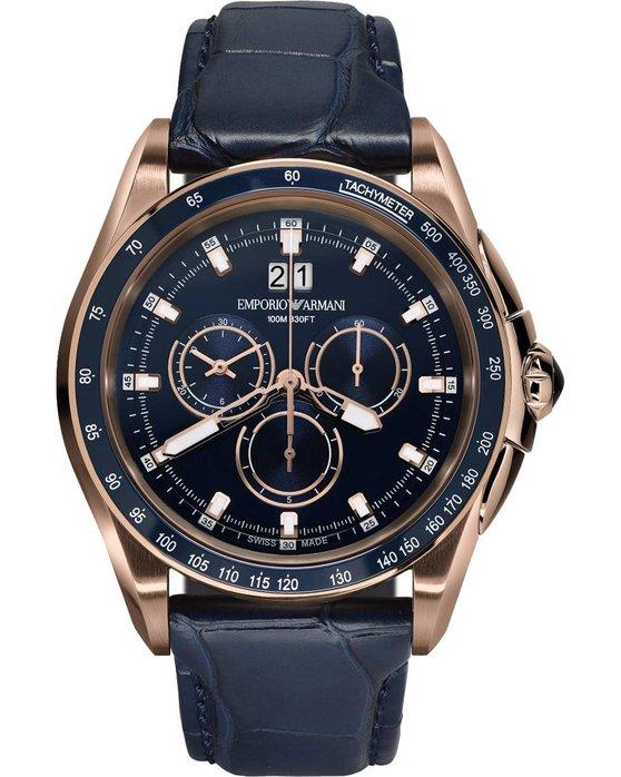 Ρολόι EMPORIO ARMANI SWISS Sport Chronograph Blue Leather Strap ... 7b6785df014