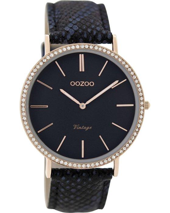 Ρολόι OOZOO Vintage Blue Leather Strap 40mm - C8889 - OROLOI.gr 58163373cc1